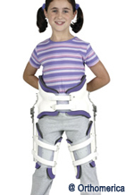 child with adjustable hip abduction orthosis