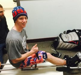 team usa hopeful showing off his new sled